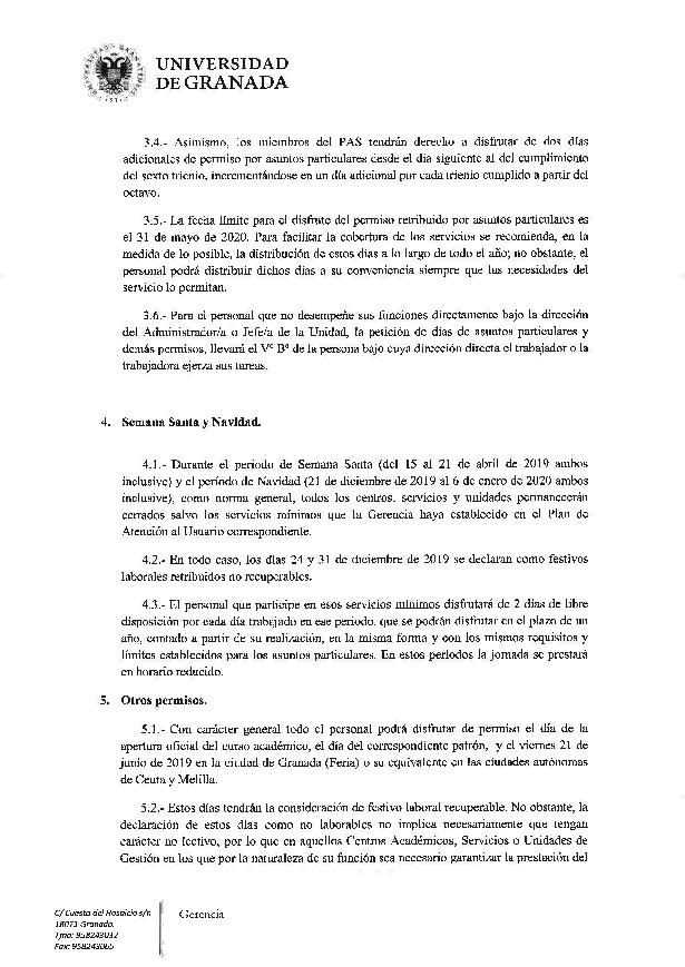 Calendario Laboral Granada 2020.Gerencia 2019 02 15 Calendario Laboral 2019 Universidad De Granada